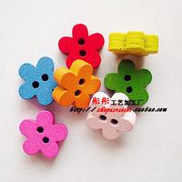 mix order (Min. Order button is $15 )WB010 100pcs 11mm flower 2 holes wood buttons cute round flatback cartoon wooden buttons
