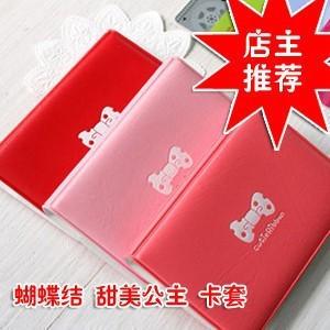 Small stationary accessary Bowknot cartoon name ID card holder bank card case clip card holder free shipping(China (Mainland))
