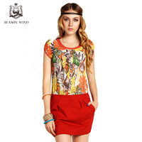 SEASONWIND 2013 new arrival spring formal elegant leaves patchwork pattern slim short skirt one-piece dress