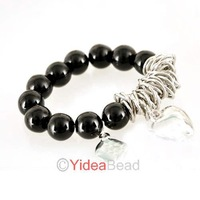 New arrival ! Fashion Handmade Love Heart Black Elastic Girl Bracelet Bangle have stock 261322 Free Shipping