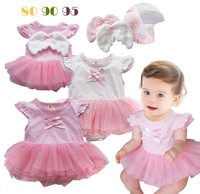Hot Sale !! Angel Design Romper for Baby Girls  Pink  Dress with Lace For Free Shipping