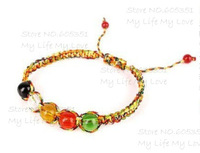 Hot!!! 2pcs/lot Fashion Hand-knitted Multicolor Luck Rope Bracelet with Five Luck Color BeadS, Romantic Knotted Bracelet