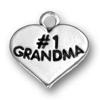 free ship 15pcs a lot power engraved #1 grandma antique silver charm jewelry