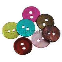 Mother of Pearl,  Button,  Flat Round,  Mixed Color,  about 10mm in diameter,  1mm thick,  hole: 1mm. 2 hole