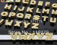130pcs 8mm A-Z Gold Color Slide letters Charm, DIY slide charms fit wristband/belt/pet collar