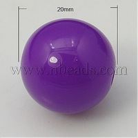 Colorful Acrylic Beads,  Round,  Purple,  20mm,  Hole: 3mm