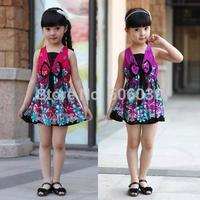 children's clothing 2014 new summer national trend floral print dress suspender one-piece dress princess dress