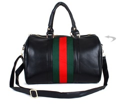 Free shipping,2013 new simple classic green red stripe bucket handbag , PU leather popular shoulder bag messenger bag(China (Mainland))