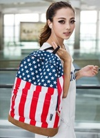 2013 fashion American USA flag backpack english style shoulder bag students school Canvas bag