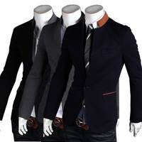 2013 New Fashion Style Free Shipping One Button Blazer Men Slim Top design Black suit Blazers Fashion Coat Jacket Stand Collar