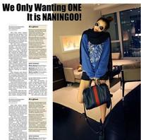 Free shipping, classic green red stripe bucket handbag , PU leather popular shoulder bag messenger bag,4pcs/lotCH190-4