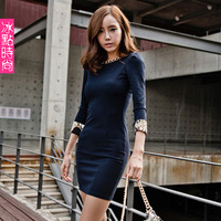 Free shipping 2013 spring women's sexy one-piece dress autumn and winter long-sleeve slim hip tight fitting lo work wear