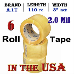"6 Rolls Carton Sealing Tape 3"" x 110 yrds 2.0M Industrial Packing /Shipping Tape(China (Mainland))"