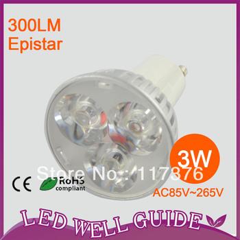 10pcs/lot HIGH POWER CE&ROHS LED spot light/led light dimmable  3W  AC85-265V GU10 Warm White/Cool White Free Shipping