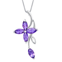 Free Ship Huimart Natural amethyst pendant four leaf clover necklace female short design chain s925 pure silver jewelry