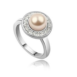 Wholesale Lady wedding pearl Australian Romantic Jewelry 18k gold plated rings 12pcs/lot Free Shipping(China (Mainland))