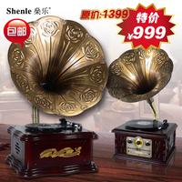 Big horn antique phonograph radio-gramophone cd player vinyl player record player cd radio audio Vinyl LP Record Player