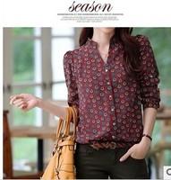 2014 new fashion Europe women stylish elegant printed vintage chiffon blouse casual slim long sleeve brand design tops#W146