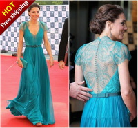 Free Shipping Kate A Line V Neck Cap Sleeve Chiffon Lace Blue Evening Dresses Evening Gowns 2013 With Crystals Beads(MDE09871)