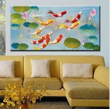 Modern abstract Oil Painting On Canvas huge wall art Chinese style fish 40X80cm Free shipping(China (Mainland))