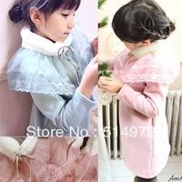 Best selling!!New fashion lace patchwork girls Fleeces Hoodie long kids Sweatshirts wool dress free shipping