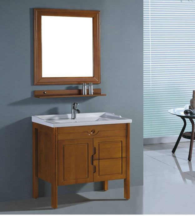 Solid oak bathroom cabinets,wall mount with mirror,countertop and sinks,LH6026(China (Mainland))