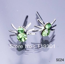 Free Shipping 40pcs Fashion Cute Spider Jewelry Crystal Ear Stud 925 Sterling Silver Charms Earring Wholesale Hot Sale SC24(China (Mainland))