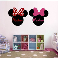 Minnie Mouse Ears Name PERSONALIZED  Vinyl Wall Lettering Words Quotes Decals Art Custom for home 50*110CM Free shipping