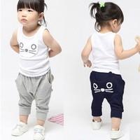 10 set/lot  2013 Best Selling Children Kids Clothing Girls Summer Sports Suit Sleeveless Cat Design AA5262