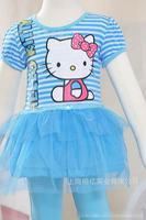 Free shipping baby Girl's Lovely  Kitty Dress lace dot Dress Stripe TUTU ruffle bow hello kitty dress+Legging 1017