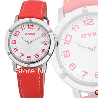 2013 EYKI quartz watch WristWatch lady women luxury leather band luxury Elegant fashion red Watch for gift free shipping