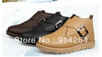 Men's High Rise Warm Shoes Flats Slip On Buckle Sneakers Leisure Loafers Boots /free shipping +trackingnumber