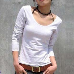 All-match lycra cotton double u T-shirt long-sleeve slim low collar basic shirt big o-neck Women basic shirt