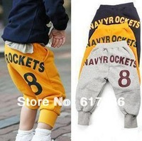 2013 spring and summer children's clothing children's trousers , yellow , gray , dark blue ,  height  100 cm -140 cm