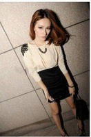 Cute Flower Embellised Layered Dress free shipping 	J10100303