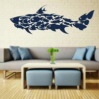 Shark Fish Interior Art Wall Stickers / Wall Decals / Large Wall Art Murals Huge  Children's Room  55*158CM  Free shipping