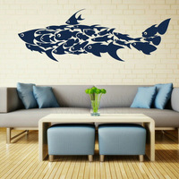 Shark Fish Interior Art Wall Stickers / Wall Decals / Large Wall Art Murals Huge  Children's Room  55*158CM  Free shipping
