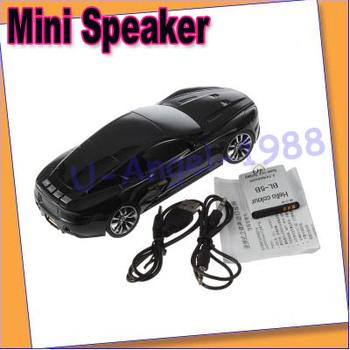 Portable Car Shape Micro SD TF USB Mini Speaker Music Player FM Stereo PC new+free shipping