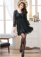 Free shipping Korean version in the spring of 2013, the lace stitching chiffon long-sleeved dress was thin Slim XXXXL code