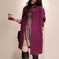 High quality midsweet fashion plus size  women's medium-long woolen overcoat outerwear sapphire blue purple