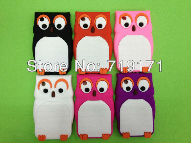 1pcs/lot free ship Cute Owl Design Silicone Back Case Cover Skin for BlackBerry Curve 8520+1pcs film(China (Mainland))