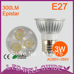 10pcs/lot HIGH POWER CE&ROHS LED spot light/led light dimmable 3W AC85-265V E27 Free Shipping(China (Mainland))