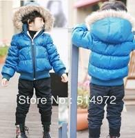 Best selling!!discount kids wadded jacket artificialfur collar boys winter coat hoody parkas free shipping