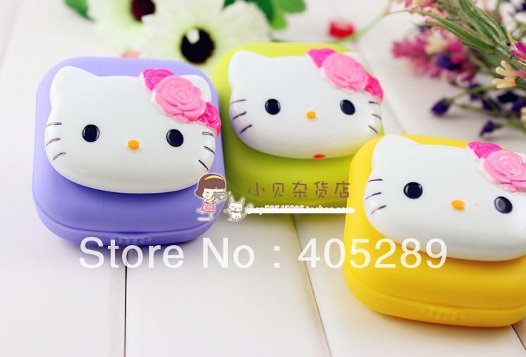 Freeshipping 10pcs/lot New Fashion Cute contact lenses box/Hello kitty contact lens case/lens Companion box(China (Mainland))