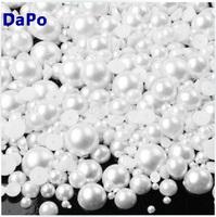 2MM 3MM 4MM 5MM 6MM 8MM 10MM 12MM White ABS imitation pearl beads half round flatback pearls Free Shipping