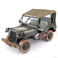 639 Metal crafts JEEP military vehicle modeling  wecker model home decoration free shipping