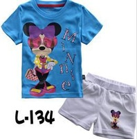 2013 NEW children's minnie clothing set girls blue tshirt white short clothes sets kids cartoon 2pcs summer suits free shipping