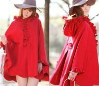 Free shipping 2014  Autumn & Winter Brand Fashion Red Luxury Flower Outerwear Cloak Women's Woolen Coat Cape