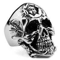 Male titanium ring punk skull ring fashion titanium ve425