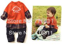 Baby Boys Orange Fake 2pcs Long Sleeve Romper and Jumpsuit, Baby wear, 448#